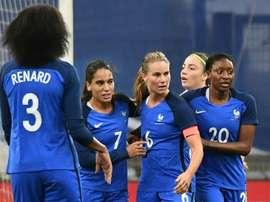 Amandine Henry après avoir marqué contre l'Italie. AFP