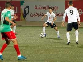 Abu Obeideh Rabie, joueur arabe israélien de Shabab Hebron à Hébron. AFP