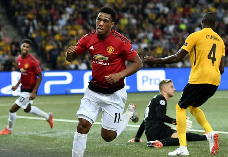 Martial pictured scoring as Manchester United were victorious in the reverse fixture. AFP