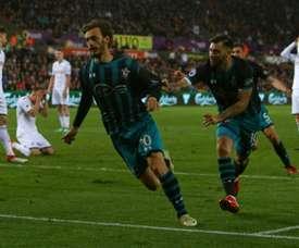 Gabbiadini, en el radar del Atlético de Madrid. AFP