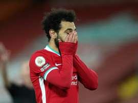 El Liverpool aún no ha marcado en Premier en 2021. AFP