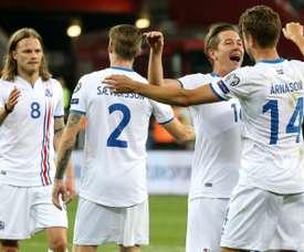 L'équipe d'Islande en liesse après sa victoire face à la Turquie en qualif pour le Mondial 2018. AFP