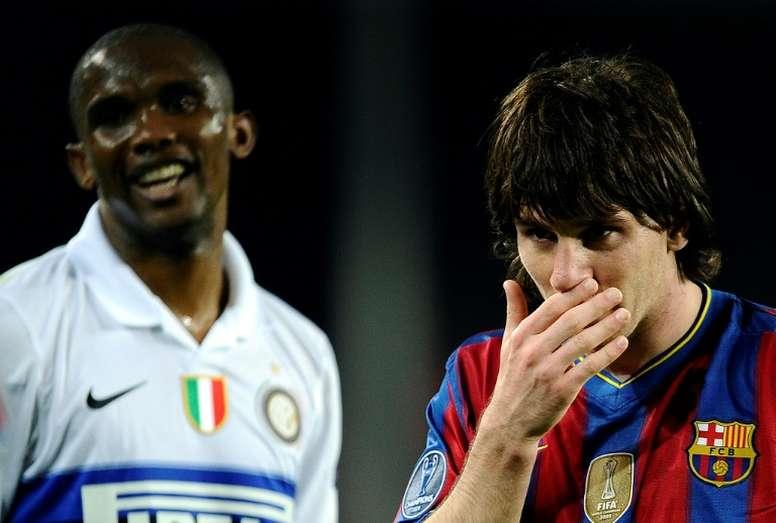 Eto'o brilló en el Barça y luego en el Inter. AFP