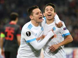 Florian Thauvin et Maxime Lopez après un but contre Braga en Europa League. AFP