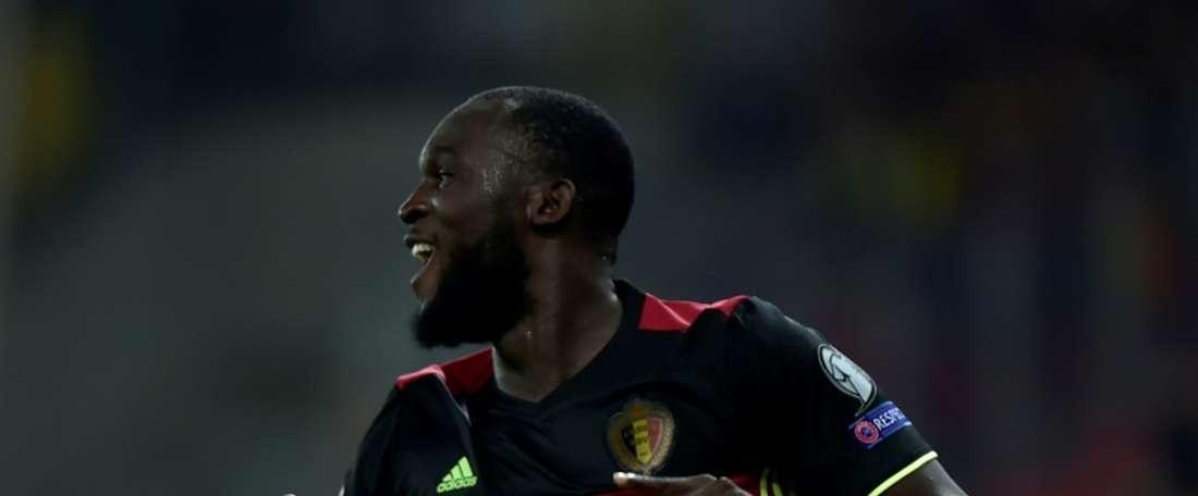 Romelu Lukaku auteur de second but, qualifiant la Belgique pour le Mondial-2018. AFP