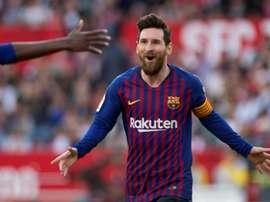 Lionel Messi auteur d'un triplé lors de la victoire 2-4. AFP