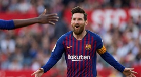 Leo Messi ha hecho 38 'hat tricks', cinco 'pókers' y una 'manita' con el Barcelona. AFP