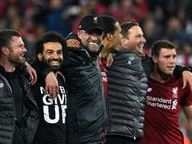 Klopp et Salah lors de la victoire des 'Reds'. AFP