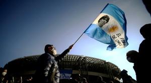 Le stade de Naples officiellement rebaptisé du nom de Diego Armando Maradona. AFP