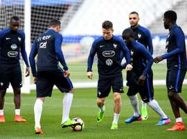 L'équipe de France à l'entraînement à la veille de son match contre l'Espagne. AFP