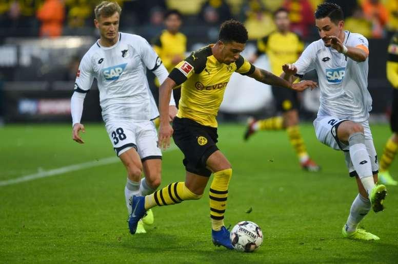 Jadon Sancho could return to the Premier League soon. AFP