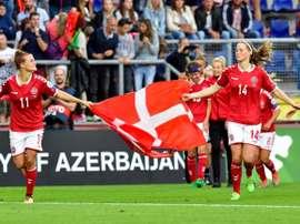 Les Danoises en liesse après leur qualification pour la finale de l'Euro 2017 dames. AFP