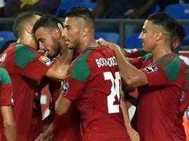Le milieu Romain Saisse (2g), auteur du 2e but pour le Maroc face au Togo lors de la CAN-2017. AFP