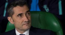 L'entraîneur du FC Barcelone Ernesto Valverde lors du match à Séville. AFP