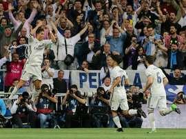 La joie de Cristiano Ronaldo auteur d'un doublé pour le Real contre le Séville FC à Bernabeu. AFP