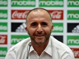 Djamel Belmadi face aux reporters lors de son intrônisation comme sélectionneur de l'Algérie. AFP