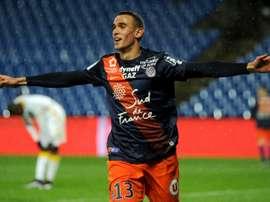 Le milieu de Montpellier Ellyes Skhiri buteur contre Lille en Ligue 1, le 27 février 2016 à La Mosson