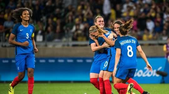 Léquipe de France féminine lors des Jeux Olympiques, le 3 août 2016 Belo Horizonte