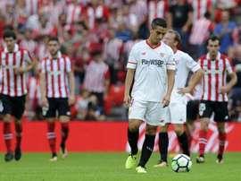 La déception de lattaquant du Séville FC Wissam Ben Yedder après un but inscrit par l'Athletic. AFP