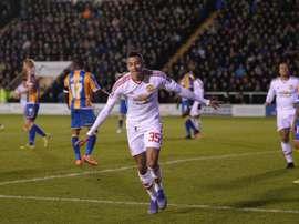 Jesse Lingard auteur du 3e but de Manchester United en Cup à Shrewsbury, le 22 février 2016