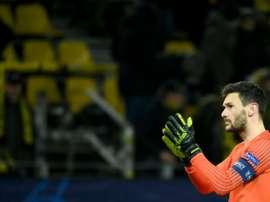 Le gardien de Tottenham Hugo Lloris face au Borussia Dortmund en C1. AFP