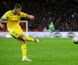Le joueur de Nantes Emiliano Sala lors du match à Rennes. AFP