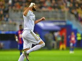 Benzema autore di una doppietta contro l'Eibar. AFP