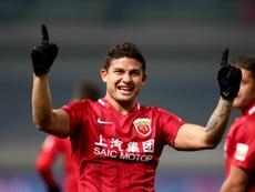 Elkeson, alors au Shanghai SIPG, buteur lors dun match de la Chinse Super League. AFP