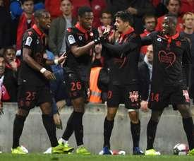 Youcef Atal (c) buteur lors de la victoire. AFP