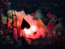 Des supporters albanais lors du match contre l'Italie. AFP