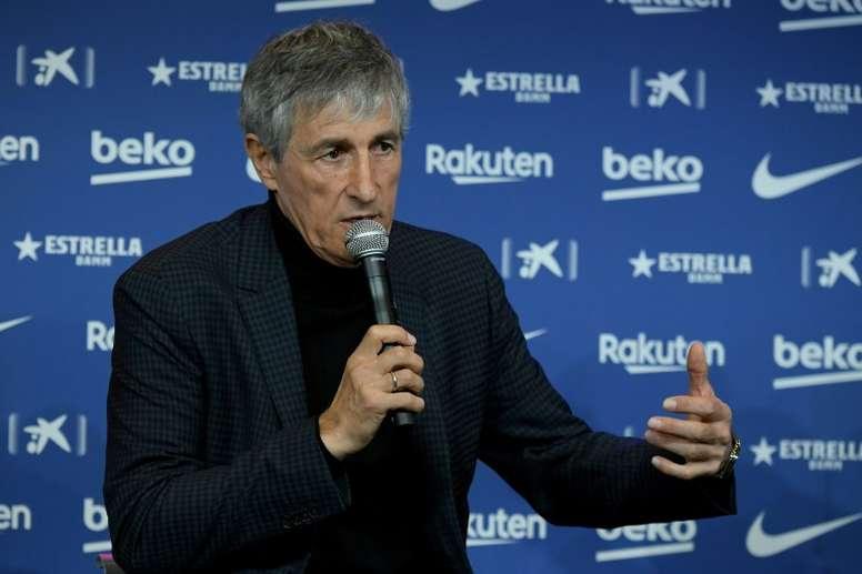 Setién fue presentado como nuevo técnico azulgrana. AFP