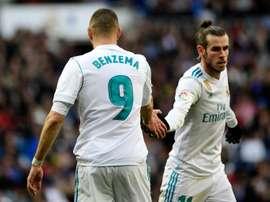 Bale y Benzema, junto a Lucas Vázquez, buscará el gol en El Alcoraz. AFP