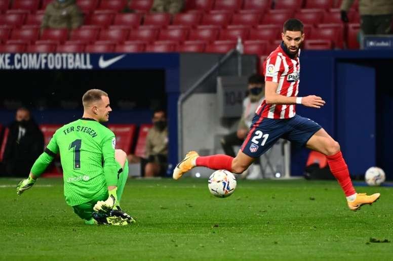 Carrasco le dio la victoria al Atlético con su gol. AFP