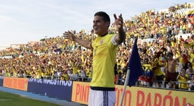 e Colombien James Rodriguez fête un but inscrit en amical contre le Cameroun. AFP