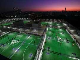 Terrains pour la pratique du futsal à Séoul, le 16 décembre 2017. AFP