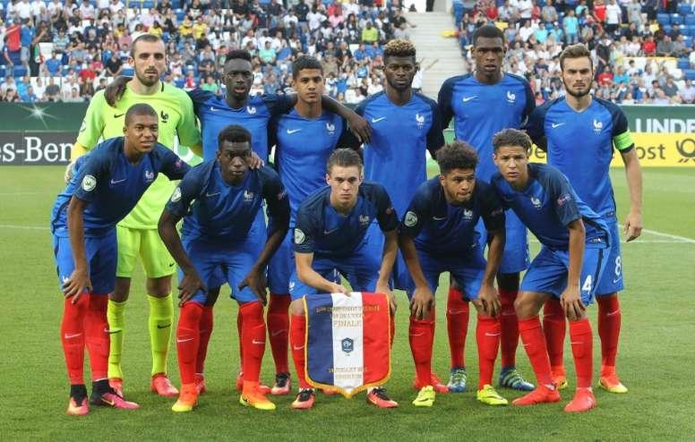 Léquipe de France des -19 ans, lors de la finale de lEuro de la catégorie à Sinsheim, le 24 juillet 2016