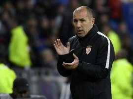 L'entraîneur de Monaco Leonardo Jardim lors du match contre Lyon, au Parc OL. AFP