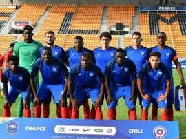 L'équipe de France Espoirs alignée face au Chili à Laval. AFP