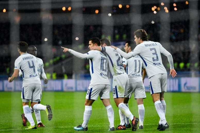 El último gol de Hazard en Champions, el 22 de noviembre en Bakú. AFP