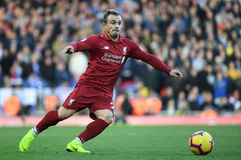Shaqiri scored Liverpool's second in the second half. AFP