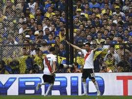 Gonzalo Martinez et Exequiel Palacios fêtent le 2e but de River Plate. AFP