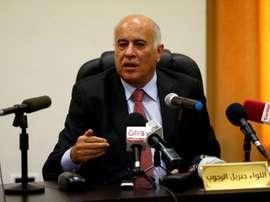 Le président de la Fédération palestinienne de football Jibril Rajoub en conférence de presse. AFP