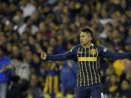 Le milieu argentin de Rosario Walter Montoya buteur face aux Colombiens d'Atletico Nacional. AFP