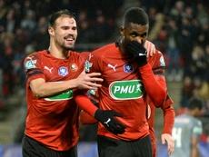 Jordan Siebatcheu (d), après l'un de ses deux buts contre Lille en Coupe de France. AFP