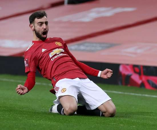 Bruno Fernandes scored from a free-kick against Liverpool. AFP