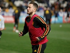 Eden Hazard à l'échauffement avant son match avec la Belgique contre Chypre. AFP