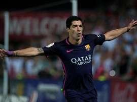 L'avant-centre de Barcelone Luis Suárez, buteur puis passeur à Grenade. AFP