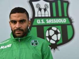 L'attaquant français de Sassuolo Grégoire Defrel au centre d'entraînement du club. AFP