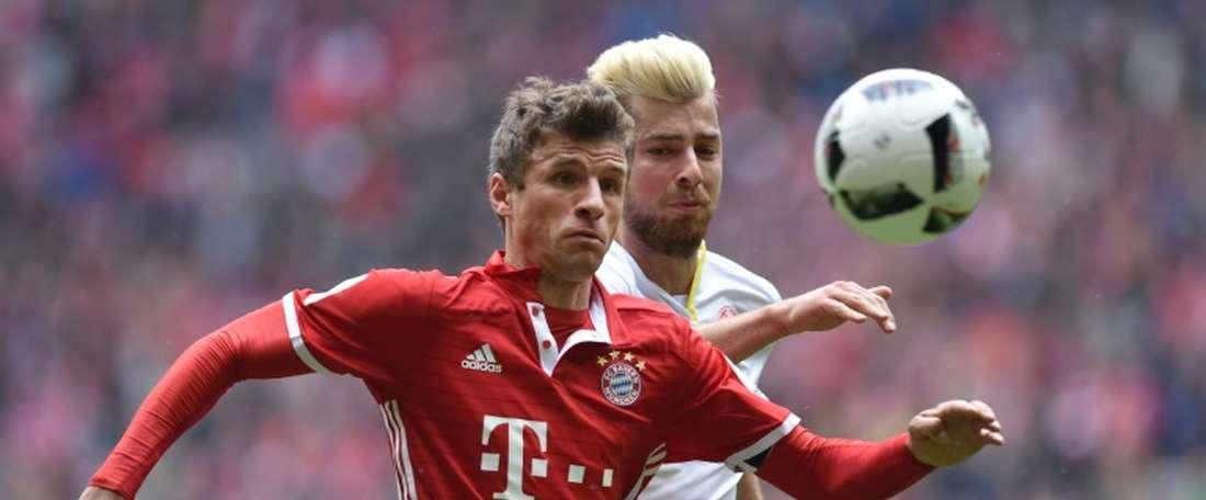 L'attaquant Thomas Müller et le Bayern ont été contraints au match nul par le FC Mayence. AFP