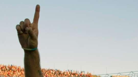 Le joueur de Nacional Alvaro Recoba lors la victoire face au Penarol en championnat dUruguay, le 9 novembre 2014 au Stade Centenario de Montevideo